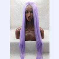 Wholesale Wig Light Purple - light purple silky straight 100%fiber synthetic hair glueless lace front wig for african american woman combs