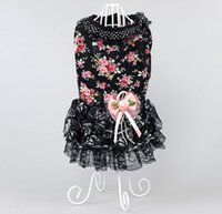 Wholesale Sexy Extra Large - 1 Piece Black Floral Lace Sexy lady style New 2017 pet clothes Mature lady Small Dog Miniskirt outdoors Clothes Free Shipping 4-2810