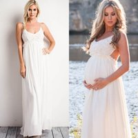 Wholesale Lace Maternity Tops - Sexy Maternity Dresses Country Style Backless Spaghetti Straps Empire Waist Beach Bridal Gowns Full Length Lace Top Cheap High Quality