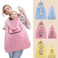 Wholesale Warmer Poncho Baby - Cute Baby Carrier Quilting Warm Cloak Winter Out Windproof Baby Blanket baby sling Hooded Warm Cloak 50*82cm 3colors