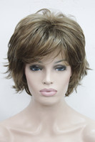 Wholesale Super light brown with blonde highlight highlights wavy flip ends lady synthetic short wig
