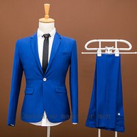 Wholesale Men Prom Suits New Arrival Formal Wedding Dress Men Business Royal Blue Wedding Suits Groom Tuxedos For Men Slim Fit