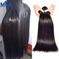 Wholesale Double Wefted Hair - MikeHAIR Brazilian Straight Hair 3 Bundles Double Wefted 100% Human Hair Extensions Peruvian Indian Malaysian Remy Hair Weaves 100g pcs