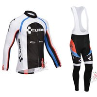 Wholesale Cube Jersey Bib - 2017 Tour de France Cube Long Sleeve Cycling Jerseys Cycling Bib Pants Set cycling clothing free