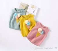 Wholesale Ice Cream 2t - In stock 3 color INS styles new arrival 100% Cotton ice cream ball design pullover vest kids girl casual cute warm sweater Vest