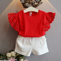 Wholesale Gilrs T Shirt - 2017 gilrs 2pcs set suits summer girls Hollow sleeves tops red T shirts+girls white shorts suit baby girls set kids clothes