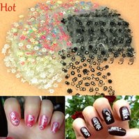 Wholesale Glitter Sheeting - 30 Sheets Beauty Flowers Nail Stickers 3D Nail Art Decotations Glitter Colorful Nail Art Manicure DIY Tools For Charms Nails 3950