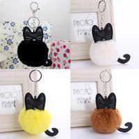 Wholesale soft animal keyrings - Cute Animal Handbag Car Keyrings Keychain Soft Cat Pendant Rabbit Fur Pompom Fluffy Bag
