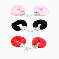 Wholesale Hand Cuffs Furry - New Adult Games SM Bondage Furry Soft Metal Handcuffs Hand Cuffs Chastity Sex Toys for Couple Role-playing Erotic Products ZA2536