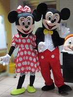 Wholesale Mouse Pc - High quality Mickey Mouse adult mascot costumes Mickey and minnie mascot costume fancy carnival costume two pcs free shipping