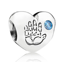 Wholesale Baby Jewelry Silver Bracelet - Authentic 925 Sterling Silver Bead Charm Baby Boy Love Heart With Crystal Beads Fit Pandora Bracelet DIY Jewelry HKA3529