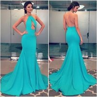 2017 Halter Backless Abendkleid Meerjungfrau Sky Blue Party Formale Kleider 2018 Nach Maß New Arrivial