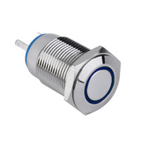 12v beleuchteter druckknopfschalter großhandel-neues 12V Metall LED Auto beleuchtet 16mm Druckschalter heißer Verkauf