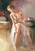 pintura al óleo retrato de las niñas al por mayor-Feautiful desnuda Retrato Sexy Girl Europa pintura al óleo abstracta moderna en la lona para Habitación Sala pared del arte de la decoración del hogar