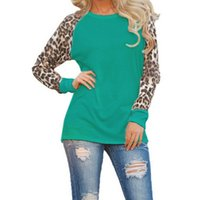 Wholesale Long Sleeve Leopard Lace Blouse - 5XL Chiffon Shirts Casual O Neck Leopard Sleeve Patchwork Blouse Tops Women Spring Autumn Clothings 5 Colors ladies tops
