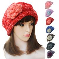 ingrosso berretti acrilici-Womens Stylish Ladies Warm Floral Winter Acrilico Casual Secchi Beanie Knit Beret Sci Cap Hat A229