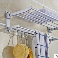 Wholesale Towel Rod Hooks - Space aluminum towel bath towel rack Double with rod folding hook shelf toilet hangs