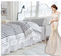 Wholesale Elegant Girl Bedding Sets - black white stripe lace bedding sets singel double 4pcs Elegant princess girls duvet cover bed skirt pillowcase 100 cotton