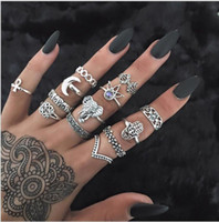 Wholesale Knuckle Rings For Women - 50set Boho crown Elephant Midi Fingers Rings Sets For Women 13pcs set Fashion Retro Turquoises Knuckle Ring Bagues Femme F162