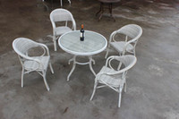 Wholesale Restaurant Furniture Chairs - Good rattan outdoor furniture tea tables and chairs Cane five-piece tea table Garden and restaurant furniture cafe tables and chairs suite