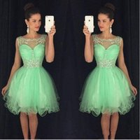 Wholesale 8th grade prom dress blue - Mint Crystal Yellow Scoop Neck Sleeveless Short Homecoming Dresses With Beaded Neckline Vestido 2017 A-Line Semi Prom Gowns 8th Grade Party