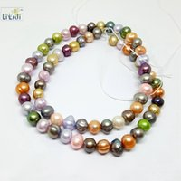 Wholesale 6mm Round Freshwater Pearl Bead - Wholesale- Lii Ji Mix color Natural Freshwater Pearl Beads about 5-6mm Round shape Loose Beads for DIY about 39cm