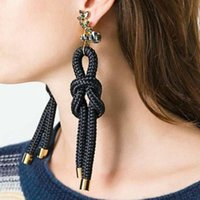 Bijoux En Forme De Nœud Pas Cher-Top Brand Personality Rope Knot en forme Dangle Earrings Fashion Crystal Rhinstones Boucles d'oreilles Long Jewelry pour femmes Temperament Accessory