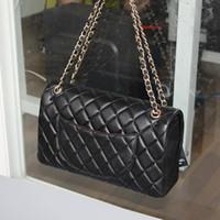 Wholesale top quality leather wholesale handbags - genuine leather top quality jumbo lambskin flap handbag soft sheepskin women flap shoulder bag full set packing 30cm
