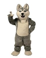 Wholesale mascot dog - 2017 Fancy Gray Dog Husky Dog With The Appearance Of Wolf Mascot Costume Mascotte Adult Cartoon Character Party