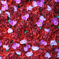 Wholesale Orchid Led - New Artificial flower wall for wedding backdrop rose hydrangea rose Red hydrangea orchid lawn pillar road lead decoration