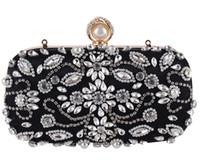 Wholesale Crystal Clutch Hard Bag - 2017 Vintage Wedding Bridal Ladies Crystal Rhinestone Stain Beaded Evening Clutch Bag Handbags Metal Hard Box Envelope Purse Makeup Kit