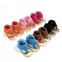 Wholesale Baby Walking Sandals - summer infant Tassel sandals baby leather sandals boys girls toddler casual shoes Multicolor high top baby shoes newborn floor walking shoes