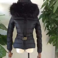 Wholesale Real Fur Hood - M45 Luxury mon Brand women jacket France Brand winter coat Female Clothes real thick fox fur collar hood down jacket
