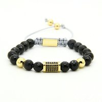 Bijoux Exquis Pour Les Hommes Pas Cher-Bijoux pour hommes en gros 8mm Black Onyx Perles en pierre avec quatre couleurs Exquisite Micro Inlay Black Cz Rectangle Macrame Bracelet