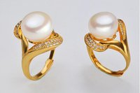 Wholesale Gold Plated Freshwater Pearl Ring - 2017 new fashion 925 silver gold plated Crystal Mosaic Adjustable ring 10-11mm Perfect freshwater pearl ring for women Jewelry free shipping