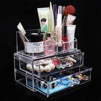 acryl schublade kosmetik veranstalter großhandel-Acryl Transparent Cosmetic Organizer Schublade Make-up Aufbewahrungsbox Halter Halter Jewel Box 18,8 x 10 x 5,7 cm