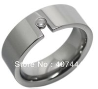 Wholesale Tungsten Heart Wedding Band - wedding band ring Free Shipping USA Hot Selling Unique High Polish &Inlay a CZ Tungsten Wedding Band Ring 8mm US sizes (7-10)
