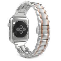 apfeluhr edelstahl schwarz großhandel-38MM / 42MM Klassische Schnalle mit drei Links Premium Edelstahlarmband für Apple Watch Black / Silver / Golden