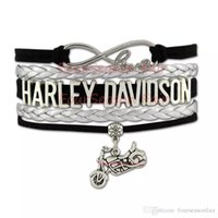 Wholesale Charm Motorcycles - Custom-2016 hot Infinity Love Harley Motorcycle Motocross Motorsport Bracelet Wrap Braided Leather Adjustable Bracelet Bangles-Drop Shipping