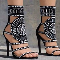 2018 New Sexy Femmes Noir Strass Rome Chaussures Gladiator Open Toe Talons hauts Bottes Bretelles Cut Out Dames Robe Cristal Parti Sandales