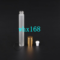 Wholesale golden bottle cosmetic - 20 x ml Empty Glass Roll on Bottle Frosted Perfume Containers Refillable Glassware Glass Vials Golden Lid Cosmetic Packaging