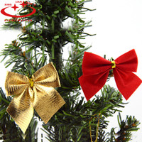 Wholesale Cheap Hanging Decorations - Wholesale-12PCS bag Gold Red Christmas Bow Flannel Xmas Tree Hanging Ornaments Cheap Navidad Christmas Decorations For Home