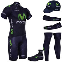 Wholesale Shoes Cover Cycling Xl - Pro team movistar cycling jersey Ropa ciclismo short sleeve cycling clothing maillot ciclismo cycling arm warmer shoes cover leg warmer