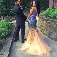 Wholesale Sexy Dress Stones - Sparkly Sexy Two Piece Prom Dresses with Stones Crystal Beaded Long Party Prom Gowns 2016 Formal Party Gowns