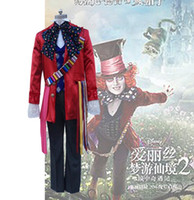 Wholesale Alice Costume Xl - Alice in Wonderland Mad Hatter cosplay costume includes 8 accessories