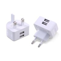 Wholesale European Wall Plug Usb - Mini UK European Plug Wall Charger White Charging Adapter Travel Home Standard Two Ports USB Charger For Universal Cellphone And Tablet
