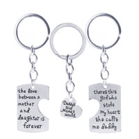 Wholesale man steal - The love Between Mother Daughter Dad Girl Mother's World Stole Heart Keychain Alloy Heart Charm Key Ring Keychains Drop Shipping