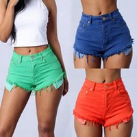 Wholesale Denim Shorts For Women - 2017 New arrival Red Ripped High Waisted Jean Shorts Womens Blue Denim Cutoff Shorts For Women