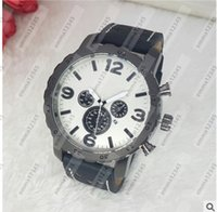 Wholesale Water Clocks Wholesale - Hot fashion Casual Sport watch men Quartz Watches Men's leather Wristwatches Clock Relogio Super gift for men