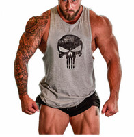 Wholesale Cotton Blend Black Vests - Mens Skull Print Cotton Fitness Gym Tank Tops Aerobics Clothing Male Sports Workout Sleeveless Tops Vests Undershirt XXL